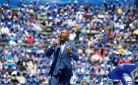 Leader of South African opposition party, the Democratic Alliance (DA) Mmusi Maimane speaks during the party's election manifesto launch in Johannesburg, South Africa, February 23, 2019. REUTERS/Siphiwe Sibeko/File Photo